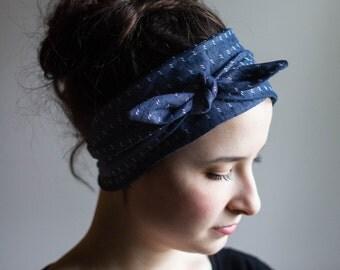 wide headbands for women- womens twisted headband- womens headband- turban headwrap- hair accessories- navy double dot
