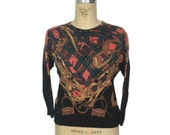vintage 1980s equestrian sweater / Marex Italia / merino wool / novelty print / women's vintage sweater / size 42