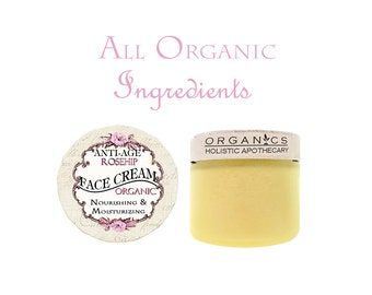 BEST SELLER Organic Rose Hip Face Cream Nourishing  &  Moisturizing 2 OZ Glass Jar  / Rose Face Cream