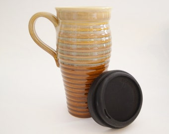 IN STOCK, Stoneware Coffee Travel Mug with Lid and Handle, Large To Go Coffee Mug, Brown Eco Mug, Commuter Mug with Handle