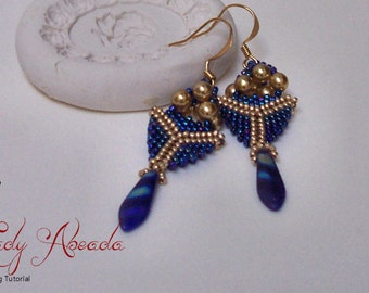 "Peyote Beading Pattern and Tutorial, ""Pagoda Drop"" Earring Tutorial INSTANT DOWNLOAD"