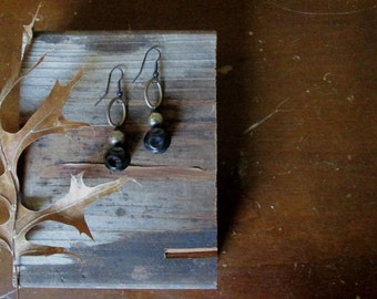 Twilight Earrings mixed metals black silver gold by Nancelpancel on Etsy