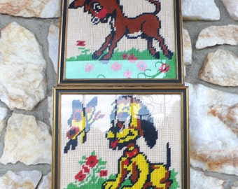 Vintage Mid Century Puppy Dog and Donkey Needlepoint Wall Hangings