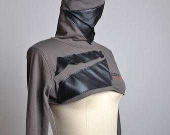 OOAK Turtke Neck Bolero - Leather Top Blouse - Ecofiendly Clothing - Up-cycled Clothing - Funky - Arm warmers