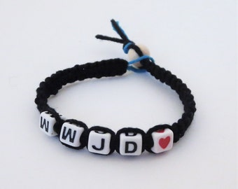 Macrame WWJD? Black and Blue Hemp Bracelet, What Would Jesus Do Bracelet. Special gifts, Christian Bracelet.