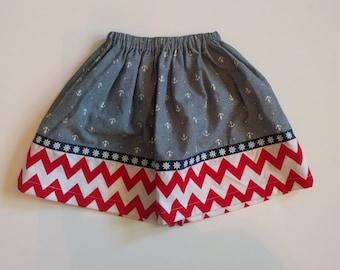 Girl's Twirl Skirt - Anchors - Red Chevron - Modest Toddler Skirt - Modest Girls Skirt