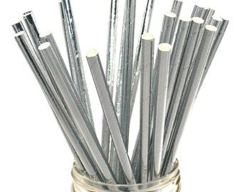 Silver Foil Paper Straws, Wedding Straws, Silver Paper Straws, Silver Straws, Pewter