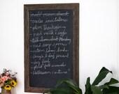23x35 Chalkboard - Chalkboard Menu - Kitchen Chalkboard - Reclaimed Wood Framed - Wedding Chalkboard - Calligraphy