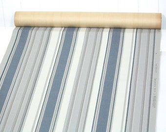 Partial Roll of Vintage Wallpaper - Navy Gray and White Stripes, 8 yard roll