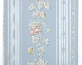 REMNANT of Vintage Wallpaper, Single 42 Inch Piece - Segmant of Floral Wallpaper with Pink Mauve and Yellow Flowers Gray Leaves on Blue