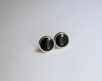 Mermaid Scale Solid Black Earrings - Posts/Studs 10mm MEDIUM