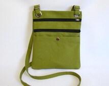 Hip bag- Light olive green duck cloth canvas