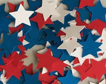 300 Cardstock Confetti stars, red, white and blue, 1 inch, patriotic, july fourth, usa