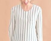 Mariniére silk blouse // 80s // M size