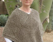Subtle Striped Squares Poncho - Knit Pattern PDF