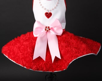 SAMPLE SALE: Valentine - Pearl & Crystal Heart Necklace Dog Dress
