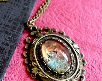 Phoenix Fire Amulet necklace - fantasy theme LARP necklace for elven sorceress, Art Nouveau Jewelry, steampunk cosplay, dragon tamer