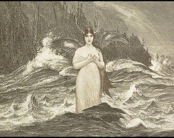 Rusalka Water Nymph Mermaid - Original Surreal Fantasy Collage Art - Antlers Victorian Woman Winged Mermaid Vintage Spirits Pagan Mythology