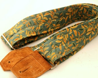 Sage Leaf Green and Gold Guitar Strap with Suede Leather