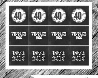 INSTANT DOWNLOAD Chalkboard Vintage 40th Birthday Party Circles -- Favor Tags, Cupcake Toppers, Table Decoration