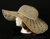 Derby hat Garden party hats Crocheted wide brim hat Summer boho beach hat Crochet sun hat Womens Victorian lace hat Edwardian wedding hats