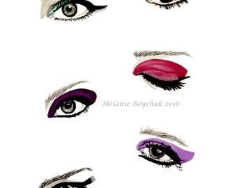 Print of an Original Fashion Illustration - Fashion Art, Marker, Ink, Pencil, Eyes