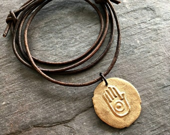 Stop in the name of love ahimsa symbol necklace handmade bronze pendant