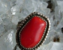 Native American Silver and Red Coral Ring, Split Shank with Decorative Border, Deep Red Irregularly Carved Stone, Very Striking, Size 6 1/2