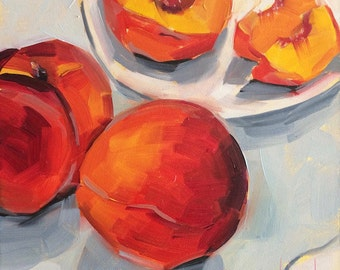 Peaches & Peach Slices, Original Oil Painting, 6 x 6 inches