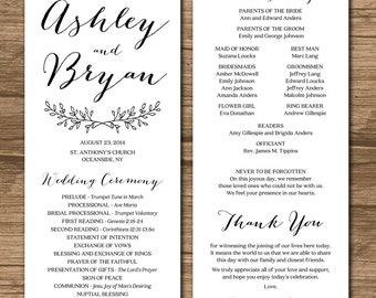 "PRINTABLE 4x9"" Wedding Program - double-sided - simple and elegant - custom color, size, font - Ashley"