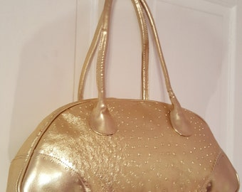 Vintage COMECO 70's METALLIC GOLD Faux Ostrich Purse // Large 80's Bowler Shoulder Bag Studio 54 Ab Fab Arched Straps