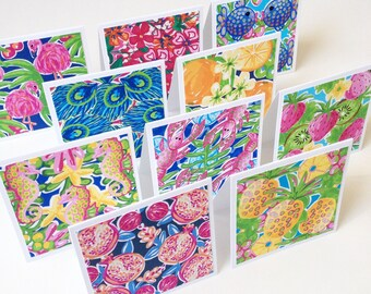 Set of 10 // 3x3 Mini Tropical Note Cards // Mini Note Cards // Pineapple Note Cards // Fruit Note Cards // Animal Note Cards // Mini Cards