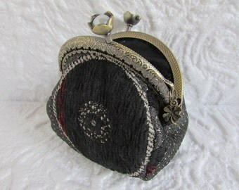 159A - Coin purse - Fabric with Metal Frame, handmade, wallet