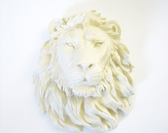 CREAM Large Faux Taxidermy LION Head wall mount wall hanging / off-white / cream / neutral / cottage chic / safari animal / nursery / office