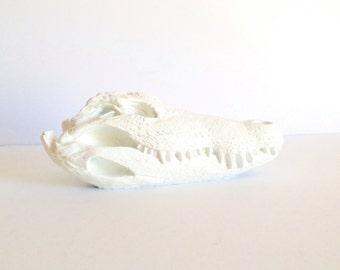 WHITE Faux Crocodile Skull animal head table top decor /  modern / swamp animal / faux taxidermy / fake skull / skull head faux animal