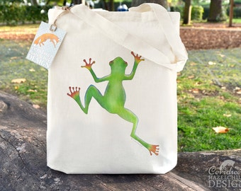 Tree Frog Tote Bag, Ethically Produced Reusable Shopper Bag, Cotton Tote, Shopping Bag, Eco Tote Bag