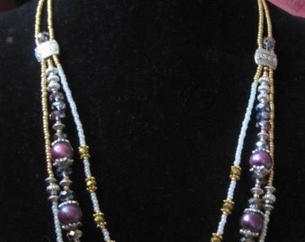 Handmade Iridescent Beads and Freshwater Pearls Statement Necklace