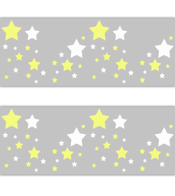 Star Nursery Decal Wallpaper Border Yellow White Grey Gray