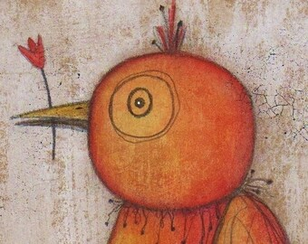 Orange Bird Mixed Media Original