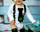 Baby Boy Saint Patricks Day Black Tie Bodysuit with Green Plaid Suspenders and Hat - Lucky Charm photo prop, Shamrock, St Patrick Baby