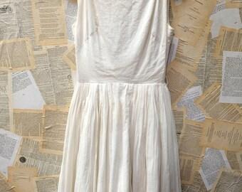 1950s White Cotton Sundress
