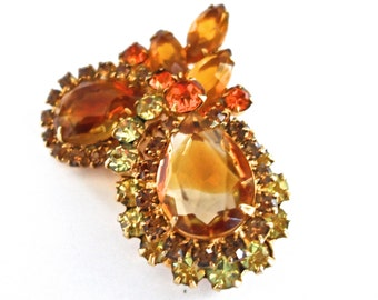 Juliana DeLizza & Elster Amber and Citrine Vintage Brooch Pin Vintage Jewelry