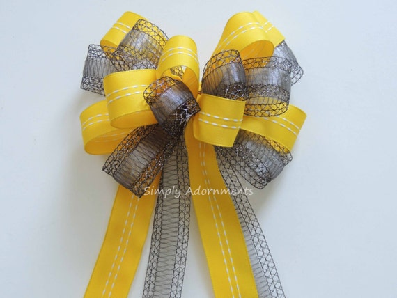 Yellow and Gray Wedding Pew Bow Grey Yellow Wedding Aisle Decoration Bow Yellow Silver Gray Bridal Shower Graduation Party Decor