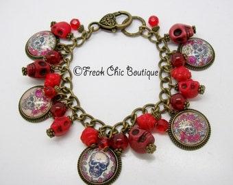 Skull Charm Bracelet, Altered Art, Mexican, Day Of The Dead, Skull Jewelry, Gothic Bracelet