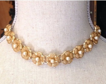 Vintage Gold Flower Necklace 1960's Pearl Daisy Choker