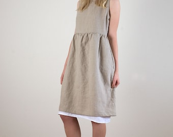 Tan and white linen sleeveless dress