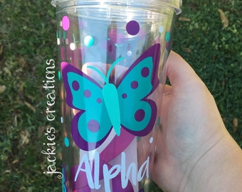 Butterfly Themed Personalized Double Wall Tumbler Cup