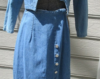 vintage 1980's 2 piece denim military style skirt and jacket small size