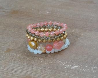 The Tiger Rose Stack - Rose Quartz Bracelet Stack - Beaded Stretch Bracelet Set - Chunky Bead Bracelet - Stackable Arm Candy Bracelets