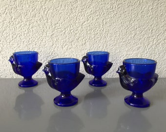 4 Vintage French Blue Glass Chicken Hen Egg Cups